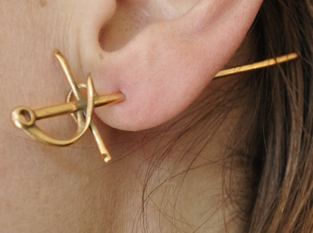 Rapier Earrings (17th c. Sword) 3d printed stabbed in the ear!
