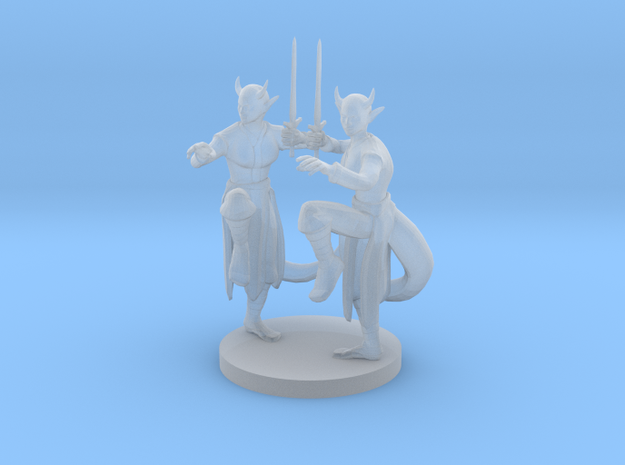 Tiefling Female Monk Twins in Smooth Fine Detail Plastic
