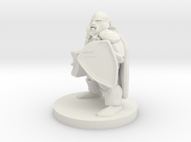 Dwarf Fighter - Hammer & Shield in White Natural Versatile Plastic