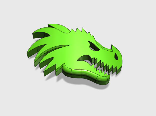 20x Dragon Head (Right) : Bent Insignia pack in Smooth Fine Detail Plastic