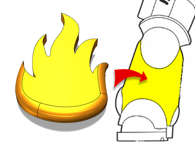 20x Dragon Legion Flame : Small Bent Insignias in Smooth Fine Detail Plastic