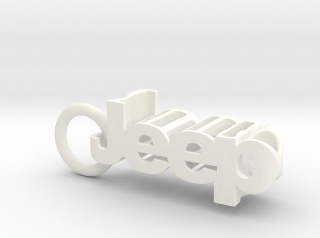 Jeep Wrangler JL Keychain in White Processed Versatile Plastic