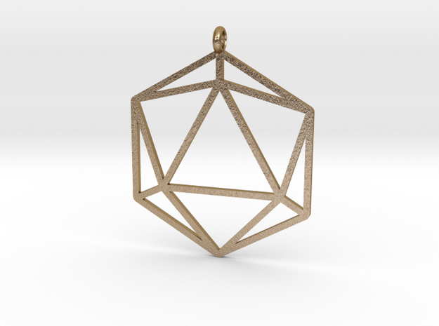 D20 Pendant in Polished Gold Steel
