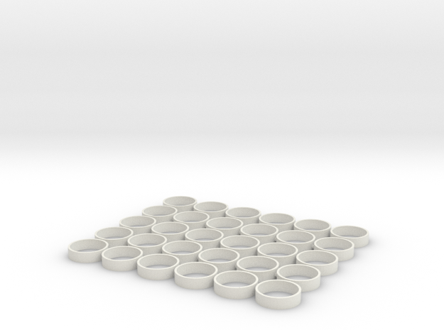 HIC 19mm Rings Piped in White Natural Versatile Plastic