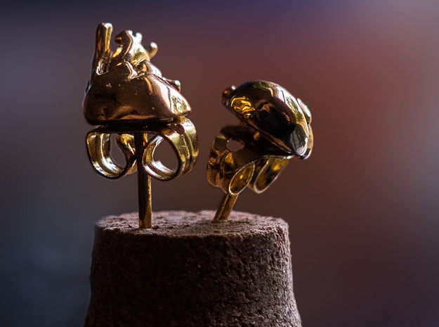 Heart Rhythms: Anatomically-Accurate Post Earrings in 14k Gold Plated Brass