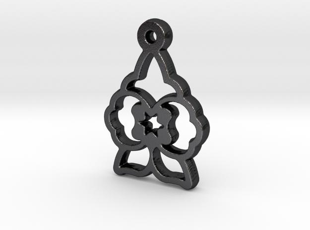 Wolfsbane Charm in Polished and Bronzed Black Steel
