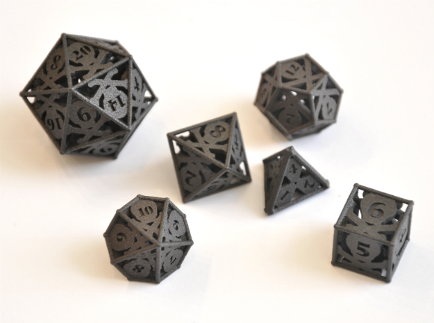 Skull and Bones Dice Set - Balanced in Matte Black Steel