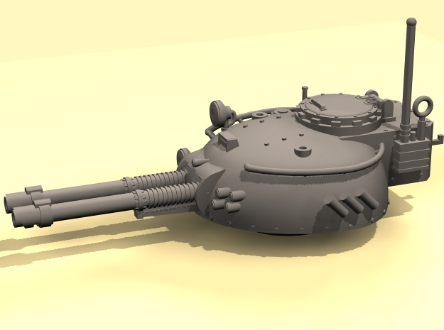28mm Rauber tank turret - twin  laser cannon in White Processed Versatile Plastic