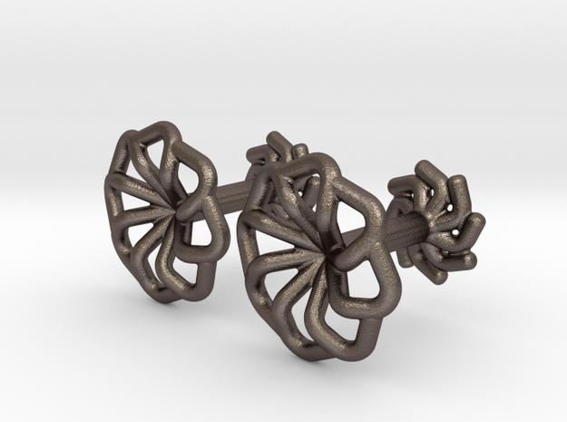 Wire Star Cufflinks in Polished Bronzed-Silver Steel