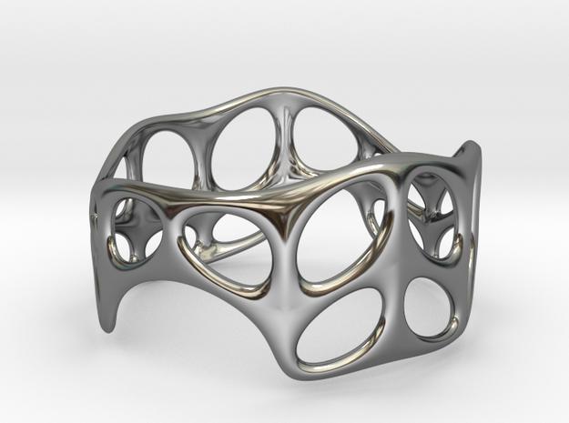 Voronoi Wire Bracelet (001a) in Fine Detail Polished Silver