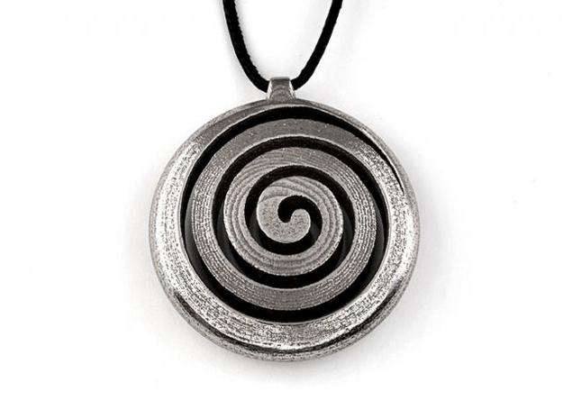 Spiral Pendant in Polished Bronzed Silver Steel