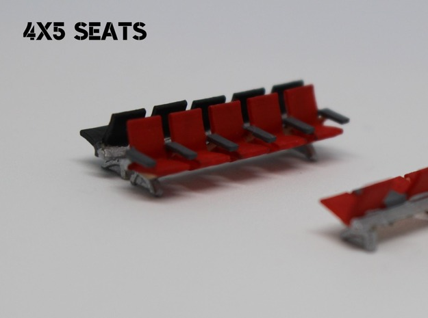 N Scale Waiting Room Seats 4x5 in Smooth Fine Detail Plastic