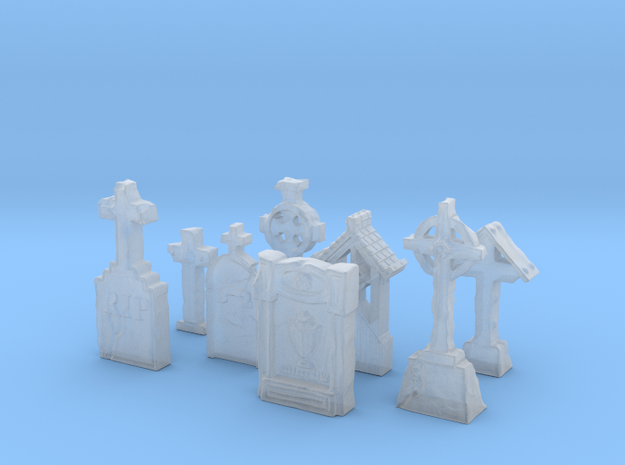 8 Spooky TOMBSTONES for tabletop gaming in Smooth Fine Detail Plastic