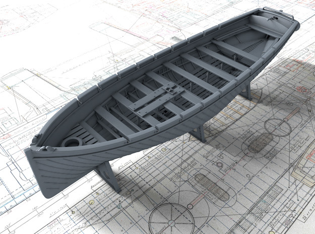 1/128 Royal Navy 42ft Sailing Launch x1 in Smooth Fine Detail Plastic