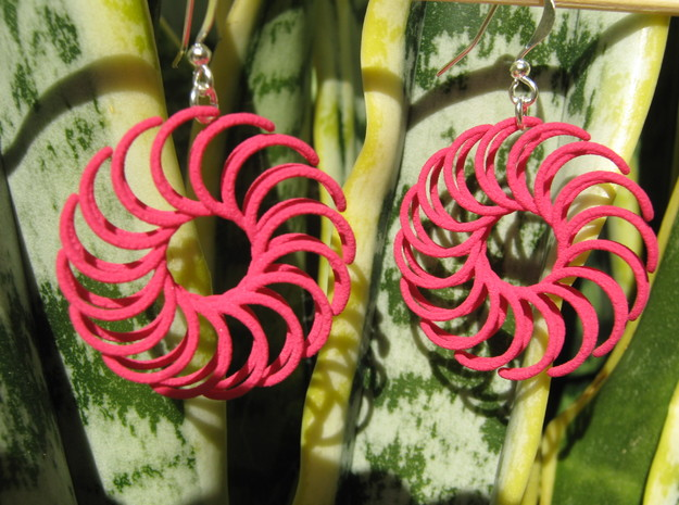 Sun 2 Earrings in Pink Processed Versatile Plastic