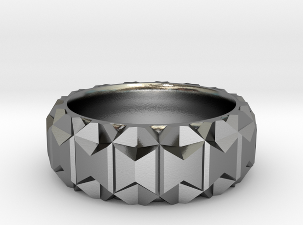 Polygonal Ring in Polished Silver: 6 / 51.5