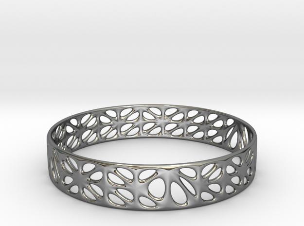 Voronoi Dodecagonal Bracelet (001b) in Fine Detail Polished Silver