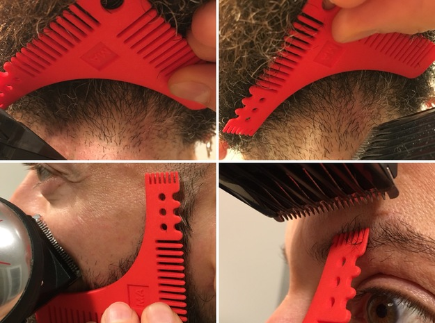 Perfect beard comb in Red Processed Versatile Plastic