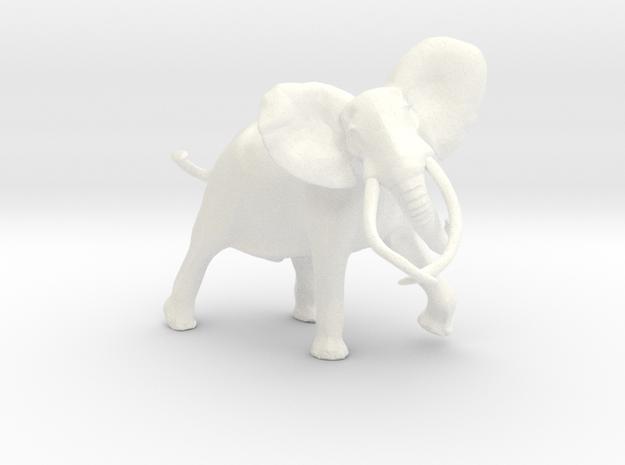 African Elephant in White Processed Versatile Plastic
