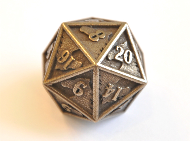 D20 Balanced - Horse in Polished Bronze Steel