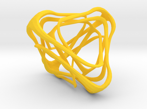Twisted Tetrahedron in Yellow Processed Versatile Plastic