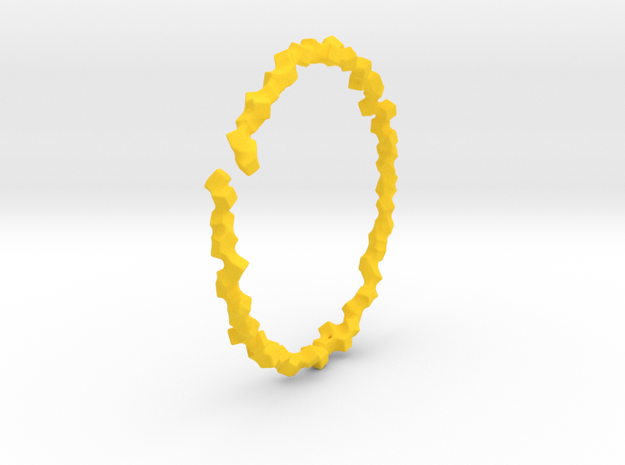 Bracelet of Cubes No.2 in Yellow Processed Versatile Plastic