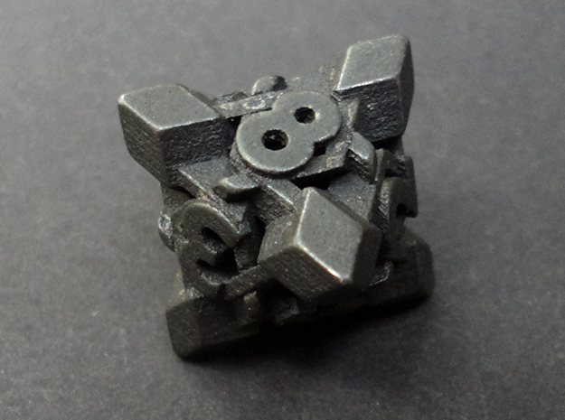 Intangle d8 in Polished and Bronzed Black Steel