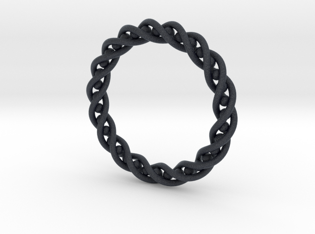 Twisted Single Strand Ring No.2 in Black PA12