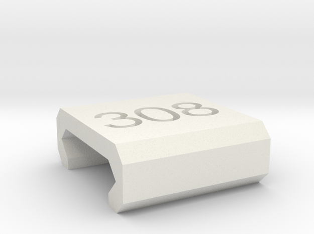 Caliber Marker - Picatinny - 308 in White Natural Versatile Plastic