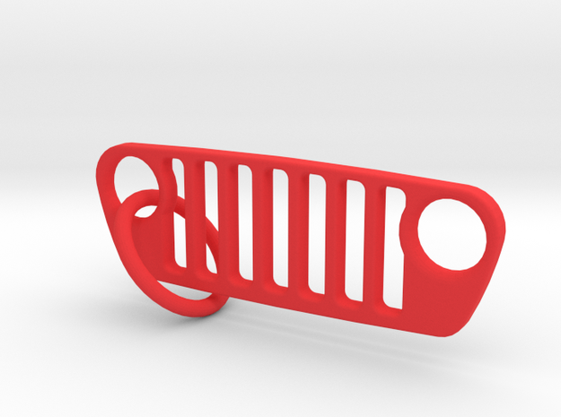 JL Grill Keychain-Flat in Red Processed Versatile Plastic