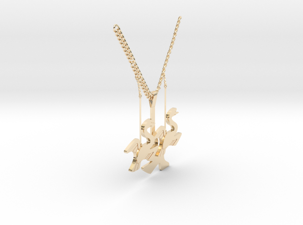 Swan necklace in 14K Yellow Gold: Medium