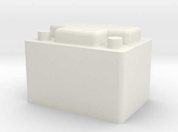 Car Battery in White Natural Versatile Plastic