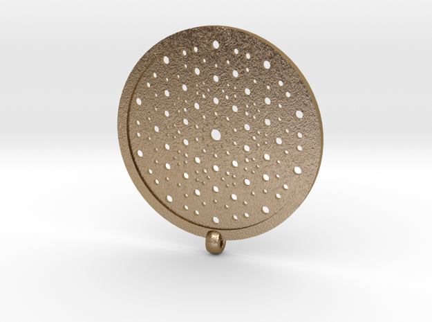 Quasicrystals Diffraction Pattern Pendant in Polished Gold Steel