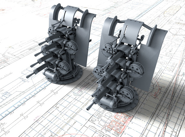 """1/128 Quad Vickers 0.50""""/62 (12.7 mm) MG MKIII x2 in Smoothest Fine Detail Plastic"""