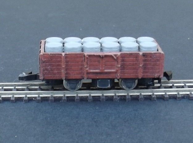 Wagon Plat/Tombereau Load Barrels - Nm - 1:160 in Smooth Fine Detail Plastic