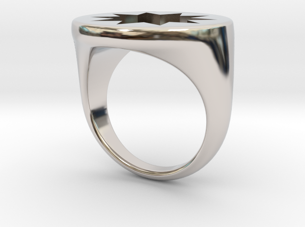 Power Signet Ring - Large in Rhodium Plated Brass: 6 / 51.5