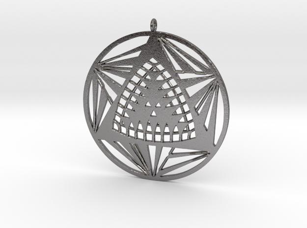 Crop circle pendant 7 in Polished Nickel Steel