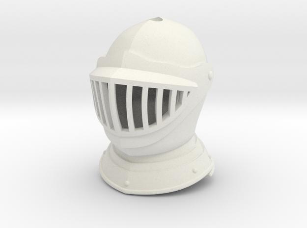 Barred Burgonet (For Crest) in White Natural Versatile Plastic: Small
