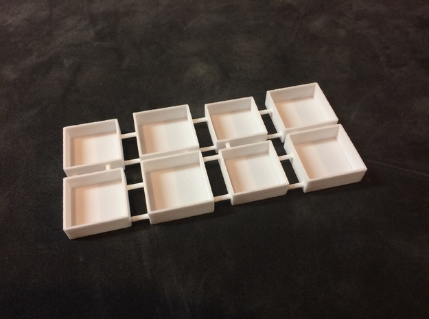 Miniature Gift Box 1 inch Square by 1/4 inch deep in White Natural Versatile Plastic