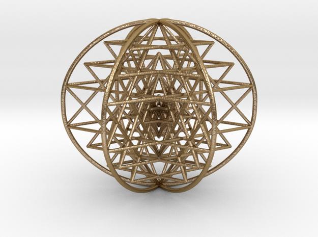 "3D Sri Yantra 6 Sided Symmetrical 3"" in Polished Gold Steel"