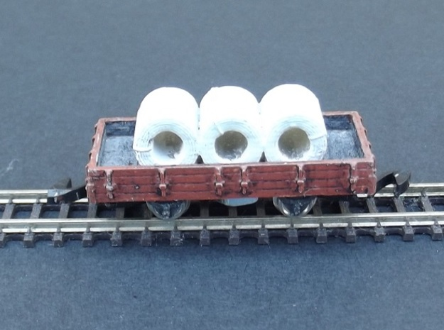 Wagon Set 2 - 3 x Plat - Nm - 1:160 in Smooth Fine Detail Plastic