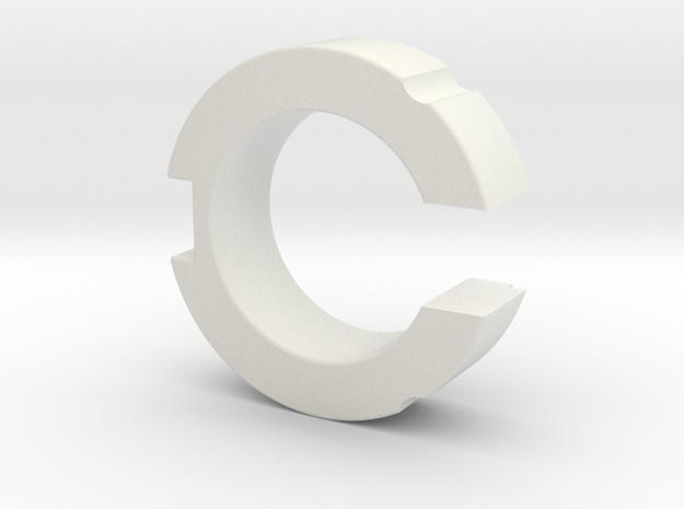 0.875in OWK Switch Holder (KR Brass Hat) in White Natural Versatile Plastic