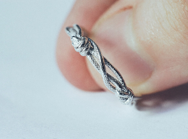 Rope ring in Polished Silver: 5 / 49