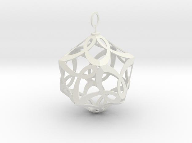 Cancer Ribbon Christmas Tree Ornament in White Natural Versatile Plastic