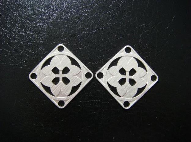 Elegant Earrings - Eight Petals Crossed 3d printed Sterling Silver