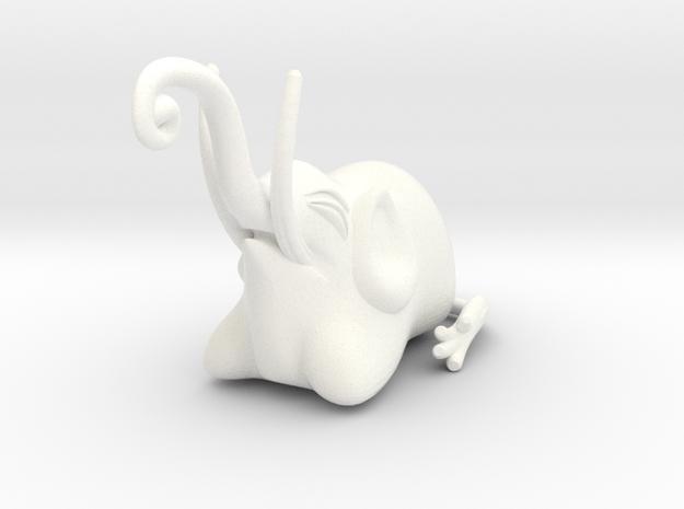 Jakuchu Elephant in White Processed Versatile Plastic
