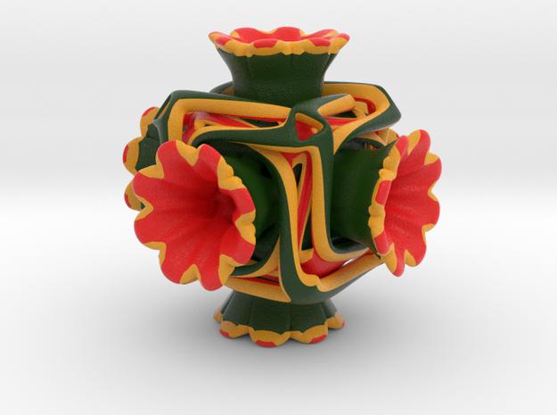 Cubeoctahedral flower  in Matte Full Color Sandstone