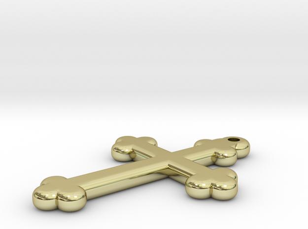 Cross Pendant in 18k Gold Plated Brass