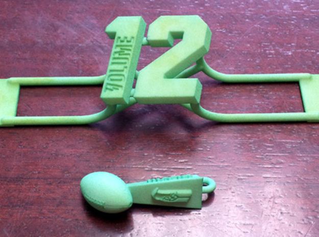 12th Man license plate add on 3d printed Shown with Lombardi key fob