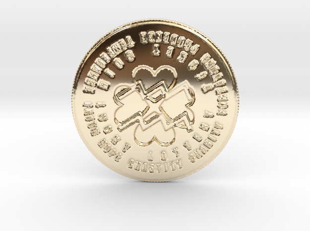 Aquarius Coin of 7 Virtues in 14k Gold Plated Brass